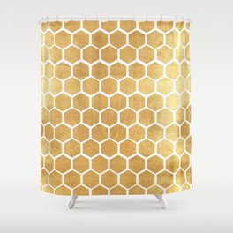 Gold honey bee Shower Curtain
