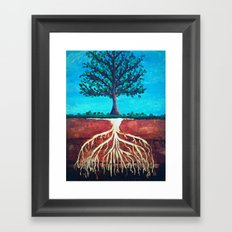 A tree only stands tall because of it's roots. Framed Art Print
