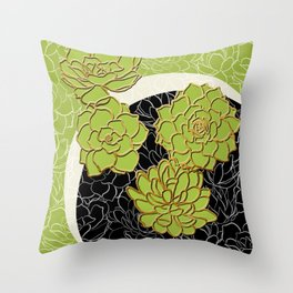 Golden Flowers on Happy Green Throw Pillow