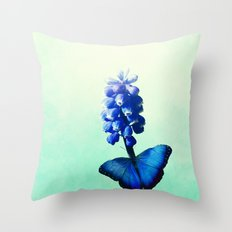 Blue bells on wings Throw Pillow