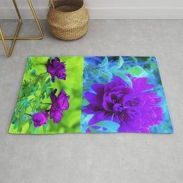 Purple Peony and Roses Garden Collage 002 Rug