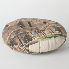 A Taos Pueblo Building Floor Pillow