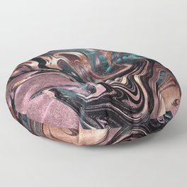 Metallic Rose Gold Marble Swirl Floor Pillow