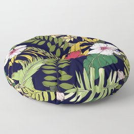 Tropical Island Oasis Floral Pattern Floor Pillow