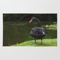 black swan Area & Throw Rugs featuring Black Swan by Lili Batista