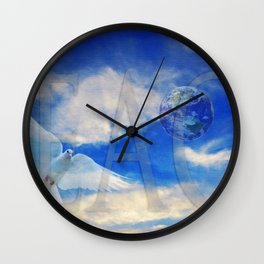 Peace - White Dove Art - Sharon Cummings Wall Clock