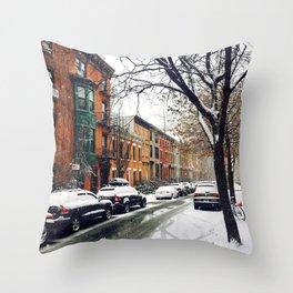 Brooklyn New York City Snow Showers Throw Pillow