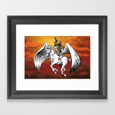 Boba Fett riding Pegasus Framed Art Print