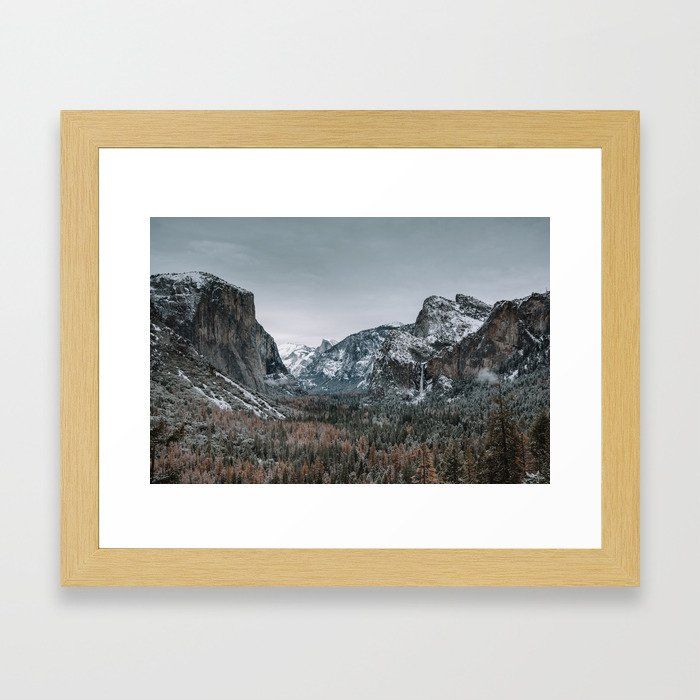 Snow at Yosemite's Tunnel View Framed Art Print