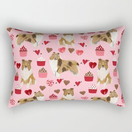 Rough Collie valentines day love cupcakes pattern dog breeds pet portraits for dog lover Rectangular Pillow