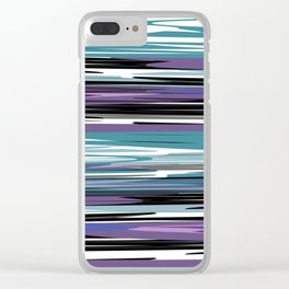 Abstract stripes in blue Clear iPhone Case