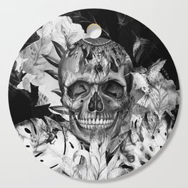 Black White Boho Skull Cutting Board