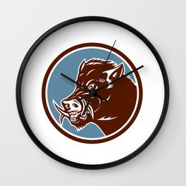 Wild Boar Razorback Head Side Circle Retro Wall Clock