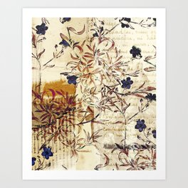 Vintage floral collage on paper Art Print