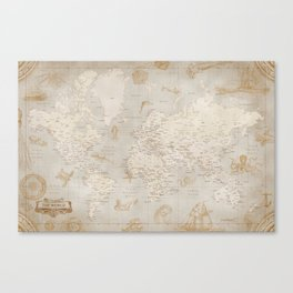 Vintage looking current world map with sea monsters and sail ships Canvas Print