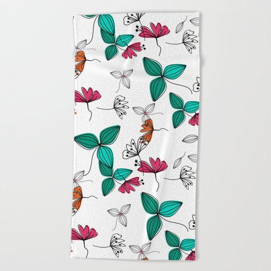 Retro .Floral pattern Rustic Beach Towel