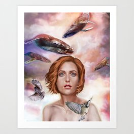 Whales and Sparrows Art Print