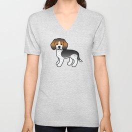 Cute Blue Ticked Beagle Dog Cartoon Illustration Unisex V-Neck