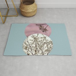 Spring Time Calming Wall Art with a Blooming White Tree Rug