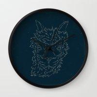alpaca Wall Clocks featuring the alpaca by Anja Lechner