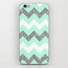 seafoam glitter chevron iPhone & iPod Skin