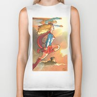 supergirl Biker Tanks featuring Super Family - Superman SuperGirl and SuperBoy by Brian Hollins art