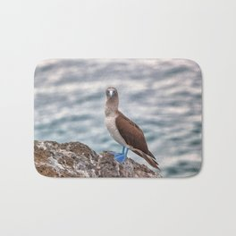 Galapagos blue footed booby bird photography Bath Mat