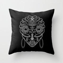 Mystery Skull Pattern (Black) Throw Pillow