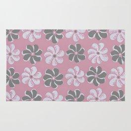Floral design pink, Black & blue Gray  Flowers Allover Print Rug