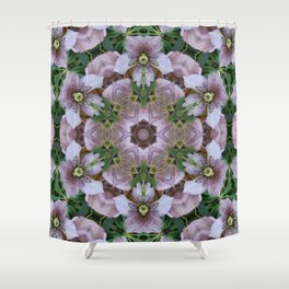 Hellebore Mandala - Abstract Floral Art by Fluid Nature Shower Curtain