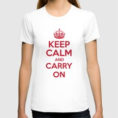keep Calm and Carry On - Red/White Book Womens Fitted Tee LARGE White