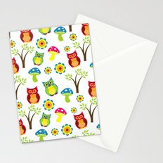 Cute Little Forest Owls Pattern Stationery Cards