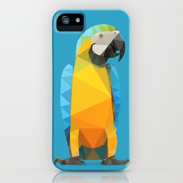 Low Poly Blue and Gold Macaw iPhone Case