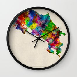 Costa Rica Map in Watercolor Wall Clock