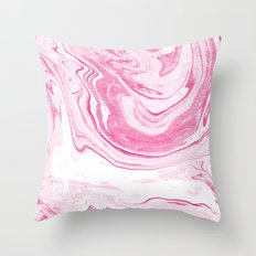 Hana - spilled ink abstract pink pastel watercolor japanese marble paper marbling swirl ocean sea  Throw Pillow