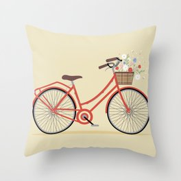 Flower Basket Bicycle Illustration Throw Pillow