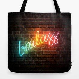 Badass Rainbow Neon Sign Tote Bag
