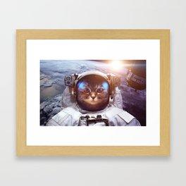 Cat in space Framed Art Print