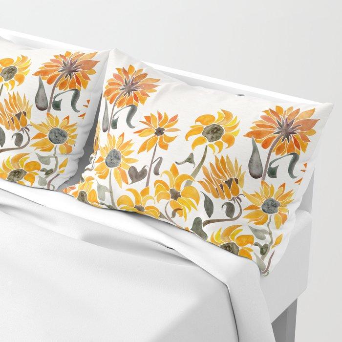 Sunflower Watercolor – Yellow & Black Palette Kissenbezug