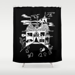 ▴ haunted house ▴ Shower Curtain