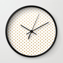 Faux Gold Foil dots on white Wall Clock