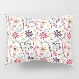 Hand painted red black orange brushstrokes floral pattern Pillow Sham