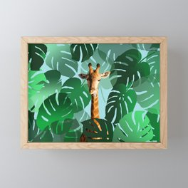 Giraffe in jungle with monstera leaves #leaves Framed Mini Art Print