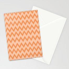 Trendy Orage and Peach Chevron Zigzag Pattern Stationery Cards
