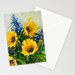 Sunflowers Oil Painting Stationery Cards