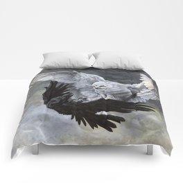 Yin Yang Owl and Raven Comforters
