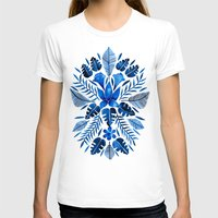 navy T-shirts featuring Tropical Symmetry – Navy by Cat Coquillette