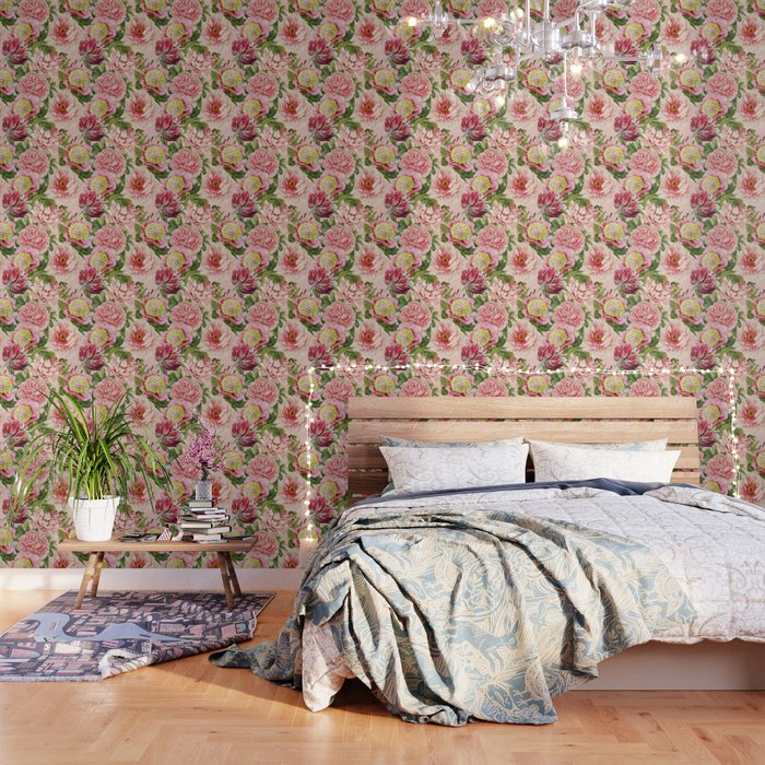 Vintage Shabby Chic Floral Peony Lily Flowers Watercolor Pattern Wallpaper