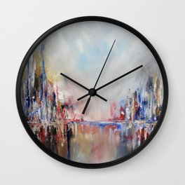 Spring urban landscape (OIL ON CANVAS) Wall Clock