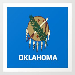 flag of oklahoma-Oklahoma,south,Oklahoman,Okie, usa,america,Tulsa,Norman,Broken Arrow Art Print